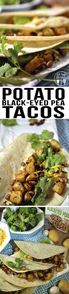 Potato black-eyed pea tacos are a healthy, vegetarian meal that is easy to put together for a quick dinner. Full of spicy potatoes and black-eyed peas.