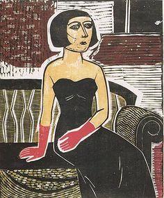 "Gilvan Samico  (Brazilian, 1928-2013)   ""Dama com Luvas""  [Lady with Gloves]  . 1959.  Woodcut."