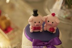 love Piggy and Piglet bride and groom wedding cake topper
