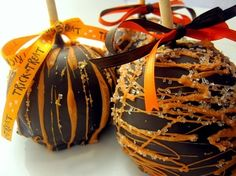 """""""Our Halloween Jumbo Gourmet Apple"""" Candy Coated Gourmet Apples """"Handmade To Perfection & Deliciously Elegant"""". Dipped in the Finest Homemade Creamy Smooth Caramel & Decorated with the Best Ingredients Freshly Made To Order! Any Holiday,any Occasion we design it special only for $5.50 and $39.95 for our Cookie Coated Gourmet Gifts. Order Online Today at www.candycoatedgourmetapples.com"""