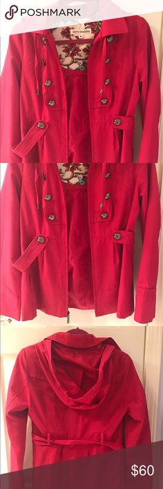 Steve Madden Pink Rain Coat This is such a nice rain coat! It is a nice dark pink coat! Perfect for rainy days with a hood. In great condition! Steve Madden Jackets & Coats