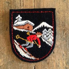 Vintage Felt Ski Patch Alpine Downhill Cross Country Skier Shield Snow Mountains