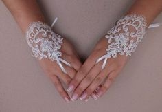 Wedding Gloves, ivory lace gloves, Fingerless Gloves  To capture those special moments for you ... ? .... ? ? ? special because .... very simple and elegant French lace fingerless gloves. - This is an