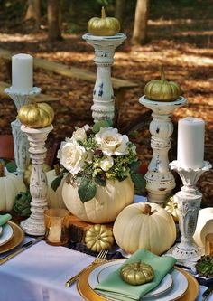 Rustic White Pumpkin Table - a southern discourse White Pumpkins Wedding, Fall Pumpkin Wedding, White Pumpkin Centerpieces, Pumpkin Table Decorations, White Pumpkin Decor, Halloween Table Decorations, Pumpkin Decorating, Wedding Decorations, Autumn Wedding