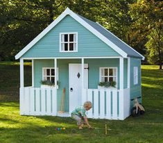 Apple Tree Playhouse - Our most special wooden play house with plenty of room for Goldilocks AND the Three Bears - they'll play and play (and play) right up until bedtime. All colours feature: white painted door and trim; four Georgian windows Simple Playhouse, Kids Playhouse Plans, Outside Playhouse, Garden Playhouse, Build A Playhouse, Playhouse Outdoor, Childrens Playhouse, Kids Cubby Houses, Kids Cubbies