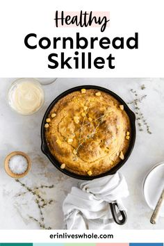Enjoy Easy Skillet Cornbread, a lightened up twist on the classic dish made with Greek yogurt, almond milk, and actual corn! It's light, fluffy, and just as delicious as it should be. Healthy Cornbread, Skillet Cornbread, Homemade Cornbread, Healthy Summer Recipes, Delicious Vegan Recipes, Fall Recipes, Vegetarian Recipes, Healthy Side Dishes, Side Dish Recipes