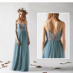Bridesmaid Dress Dusty Blue Tulle Wedding Dress Lace Illusion Back Party Dress Spaghetti Strap Maxi Prom Dress A-Line Evening Dress Tulle Wedding Dresses, Tulle Prom Dress, Bridal Gowns, Lace Dress, Prom Dresses, Dress Long, Party Dress, Dusty Blue Dress, Dusty Blue Bridesmaid Dresses