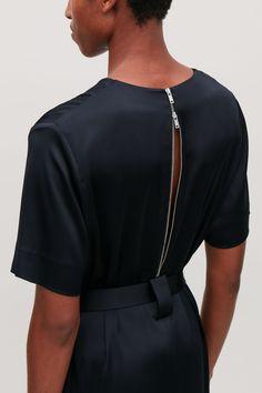 V-NECK DRESS WITH BELT - Midnight blue - Dresses - COS Mid Length Dresses, V Neck Dress, Satin Fabric, Mix Match, Midnight Blue, Blue Dresses, Women Wear, Short Sleeves, Feminine