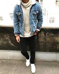 Look Masculino com Cachecol, Jaqueta Jeans, Calça Skinny Preta, Bota Desert. Acesse nosso site!!!