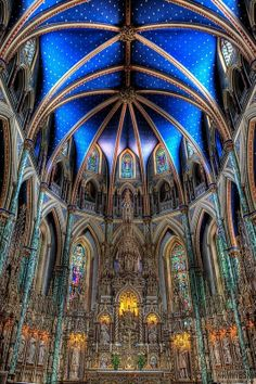 """Ottawa, Ontario - Basilique-Cathédrale Notre-Dame. Restored in 1990 and designated a National Historic Site of Canada due to its """"exceptional example of the Gothic Revival style in Canadian architecture""""."""
