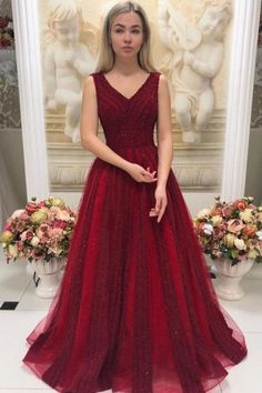 V Neck Sleeveless Beaded Prom Dresses Sweep Train, This dress could be custom made, there are no extra cost to do custom size and color