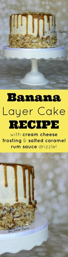 Banana Layer Cake Bananas have long been a favourite in our house. This banana layer cake with cream cheese frosting and a salted caramel rum sauce drizzle. Vegan Quesadilla, Cream Cheese Recipes, Cake With Cream Cheese, Cupcake Recipes, Cupcake Cakes, Cupcakes, Banana Layer Cake Recipe, Beste Brownies, Buttercream Cake
