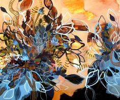 specimens at sunset ii/jennifer scott mclaughlin jennifer scott mcLaughlin lives and works in florida.  through her dynamic abstract paintings she probes natural forms that push and pull the idea of formal and objective associations.  the abstracted imagery found in her body of work references living organisms and growth found above and below the water's surface