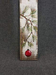 Red Hand painted Christmas decoration, GIFTS UNDER 25, Pine Branch with RED Bulb, Reclaimed barnwood, Pallet art, Shabby chic