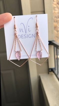 Proud to be Square in Tan and Bubblegum Pink OOAK dangle beaded earrings