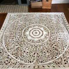 Large Queen Size Bed Bohemian Headboard Mandala Lotus Flower Wooden Hand Craved Teak Wood Wall Art Panels White Washed Thai Home Decor Wooden Wall Art Panels, Panel Wall Art, Wood Wall Art, King Bed Headboard, Headboards For Beds, King Comforter, Mandala Lotus Flower, Bohemian Headboard, Pereira