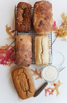 5 great breads for fall; sweet potato, chocolate chip banana, cinnamon raisin, pumpkin, and lemon poppyseed