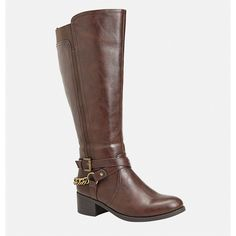 Avenue Tamara Strappy Chain Riding Boot ($36) ❤ liked on Polyvore featuring shoes, boots, brown, plus size, brown equestrian boots, buckle riding boots, equestrian boots, strappy boots and brown knee high riding boots