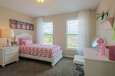 Little girl's pink bedroom-Fischer Homes Madison Model