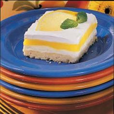 THIS IS THE ONE I ADAPT AND USE:  *Lemon / Chocolate Lush Dessert Pie   Can also use 2 graham cracker, ready-made pie crusts for the bottom layer and do one with Lemon and one with Chocolate instant pudding instead of using a 9x13. This would mean halving the recipe for each pie.