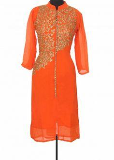 Orange kurti embellished in zari embroidery only on Kalki