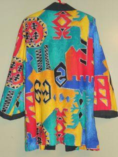 80's Abstract, Geometric, Aztec, Indian Print Over-sized Boyfriend Cut Blazer S M L. $28.00, via Etsy.