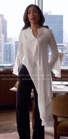 Jessica's long white asymmetrical blouse on Suits. Outfit Details: https://wornontv.net/59588/