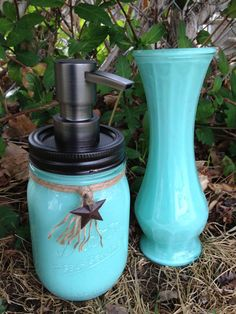 Mason Jar Soap Dispenser with matching Vase by SwiftRiverCreations, $21.50