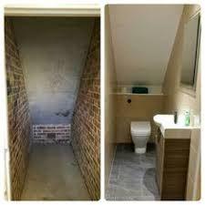 downstairs toilet utility room under stairs Small Downstairs Toilet, Small Toilet Room, Downstairs Cloakroom, Bathroom Under Stairs, Attic Bathroom, Small Bathroom, Under The Stairs Toilet, Bathroom Ceilings, Bathroom Ideas