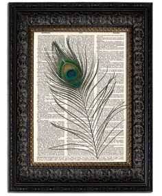 PEACOCK FEATHER Art Print Unique Birthday Gift Peacock Bird Feather Wall Art Decor Mixed Media Collage Art Print Girls Room Decor