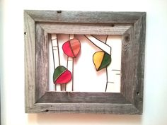 Aspens in Autumn...open air stained glass wall art framed in rustic barnwood frame.