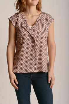 Distinctive and fun a geo print adds a touch of personality to this blouse.  Rolled Sleeve Blouse by Bobeau. Clothing - Tops - Short Sleeve Clothing - Tops - Blouses & Shirts Iowa
