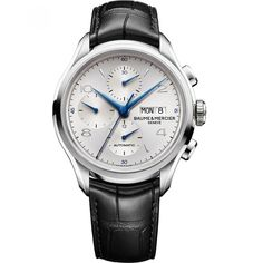 Reloj Baume & Mercier de caja y bisel en acero inoxidable extensible tipo correa en piel texturizada color negro carátula blanca con manecillas azules e indicadores grandes; movimiento VALJOUX 7750 y detalle de la marca.