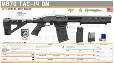 Remington Arms Company, LLC -  M870 TAC-14 DM with Pistol Grip Brace Big Guns, Cool Guns, Military Weapons, Weapons Guns, Shotguns, Firearms, Arsenal, Remington Model 870, Espada Anime