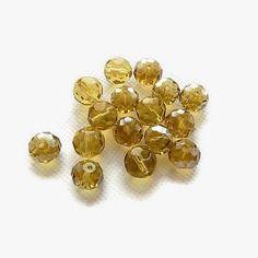 Perles de verre à facettes irisées jaune transparent 10 mm x 12 lot 1