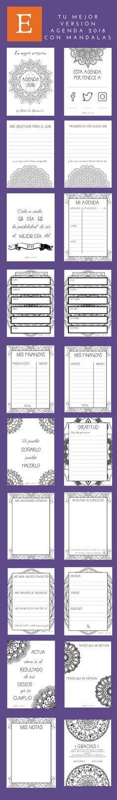 Agenda 2018 con mandalas para colorear y journaling. Diseña tu año. Bullet journal en español. Journaling.