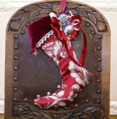Christmas Stocking, Victorian Decor, Handmade Christmas Décor, Décor for Wall,Christmas Red White Silver