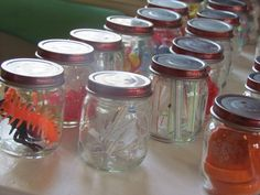 Estimating jars with different objects for kids to count, sort, and graph.