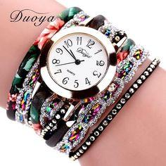 Women Flower Popular Quartz Watch Luxury Bracelet Dress Lady Gift Flower Gemstone Wristwatch