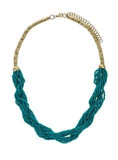 jade beaded twist necklace