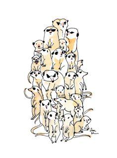 Wild Family Series - Meerkat Art Print by Choc Ye Art And Illustration, Meerkat Mail, Zoo Project, Gcse Art Sketchbook, Family Drawing, Dog Socks, Sock Animals, Cute Creatures, Art Techniques