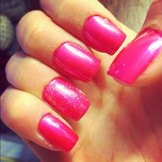 acrylic painted nails, pink and sparkle $9 total