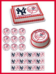 New York Yankees 2 Edible Birthday Cake Topper OR Cupcake Topper, Decor