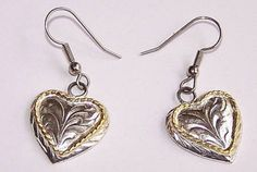 Heart Earrings Silver and Gold  Fishhook Silver Plate Vintage Jewelry by annimae182 on Etsy