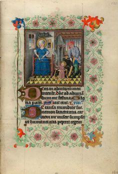 La sagrada familia en el Libro de horas de Catalina de Cleves, siglo XV, f. 69r