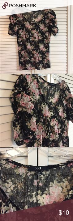 👄Forever 21 Sheer Lace Floral Print Top👄 Perfect for spring. Lightweight, ruched sleeves, cute Floral print. So cute! Bundle and save! Free shipping on orders of $50 or more! Forever 21 Tops Blouses