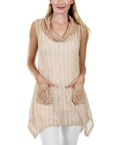 Another great find on #zulily! Mauve Pink Lace Cowl Neck Tunic by Lily #zulilyfinds