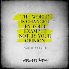 The world is changed by your example not by your opinion. Be the example.