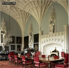 The dining room at Arbury Hall, which occupies the space of the great hall in the tudor house.