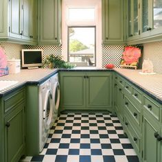 Laundry Room - I've thought about adding a window to my laundry room too. This room is awesome. Love the green cabinets! Laundry Room Organization, Laundry Room Design, Laundry Rooms, Laundry Area, Mud Rooms, Small Laundry, Laundry Center, Laundry Closet, Design Kitchen
